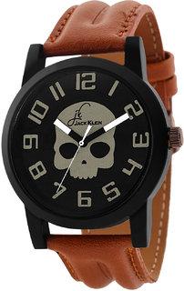 Jack Klein Skeleton Edition Brown Strap Wrist Watch For Men