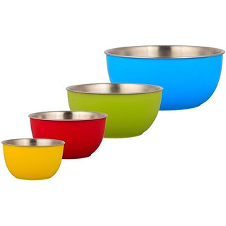 Sayee Microwave safe Stainless Steel Plastic Coated Serving Bowls Stainless Steel Bowl Set  (Multicolor, Pack of 4)