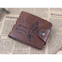 Fashion Men Genuine Leather Biofold Wallet Brown