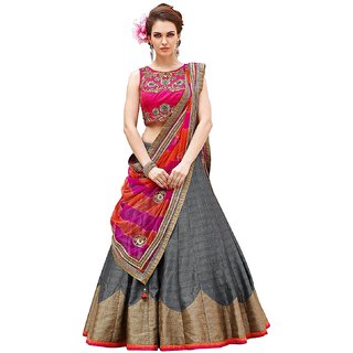 New Designer Bhagalpuri material Grey and pink Color smooth embroidery Function wear semi-sttiched lehengha choli