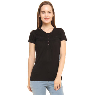 CHIMERA Black Short Sleeve Solid 100 Viscose Round Neck Top For Women