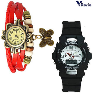 Vitoria Dual time DigitalAnalogue Sports Watch With Womens Fashionable Watch (Couple Combo