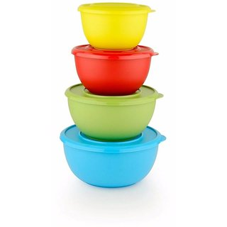 Sayee Microwave Safe Stainless Steel Plastic Coated Serving Bowls Bowl Set Multicolor