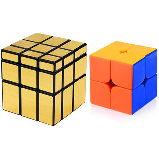 Magic Rubik Gold Mirror  2x2 Combo Puzzle Cube Brainstorming Game Toy