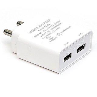 2.1 A Dual Port Charger For Samsung, Oppo, Vivo, Redmi, Lenovo, Motorola and All Smartphone - White