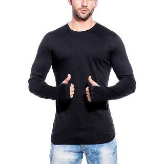 gWOWg Mens Fullsleeve Round Neck Black Cotton Tshirt