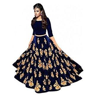 Designer Nevy Blue Colour Velvet Material Semi stitched Lehengha choli (MASTANI)