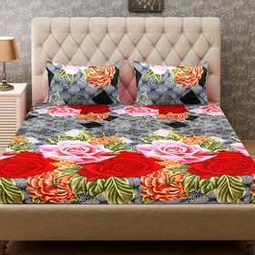 Home Collective 1 Double Bed-sheet with 2 Pillow Covers-SHCPCD06RD