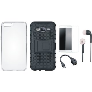 Vivo V9 Shockproof Tough Armour Defender Case with Silicon Back Cover, Tempered Glass, Earphones and OTG Cable