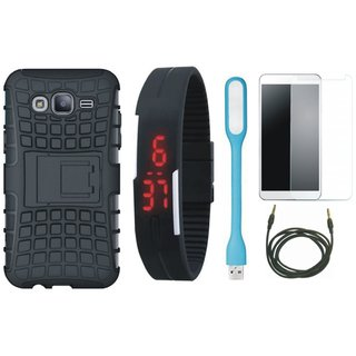 Redmi 5 Shockproof Kick Stand Defender Back Cover with Free Digital LED Watch, Tempered Glass, LED Light and AUX Cable