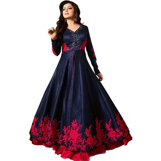 New Designer Blue and Red Banglory Embroidered Party Wear Anarakali Semi Sttiched Dress (OQD04)