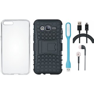 Redmi 5 Shockproof Kick Stand Defender Back Cover with Silicon Back Cover, Earphones, USB LED Light and USB Cable