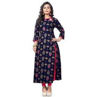 Vaikunth Fabrics Kurti In Navy Blue Color And Rayon Fabric For Womens VF-KU-128