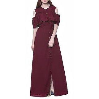 FT Mehroon Crepe Long Frill Dress