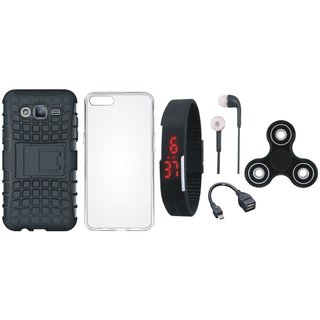 Redmi 5 Shockproof Kick Stand Defender Back Cover with Spinner, Silicon Back Cover, Digital Watch, Earphones and OTG Cable