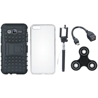 Redmi Note 5 Pro Shockproof Tough Defender Cover with Spinner, Silicon Back Cover, Selfie Stick and OTG Cable