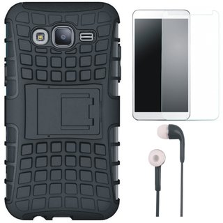 Vivo V9 Shockproof Kick Stand Defender Back Cover with Tempered Glass and Earphones