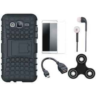 Redmi Note 5 Pro Defender Back Cover with Kick Stand with Spinner, Tempered Glass, Earphones and OTG Cable