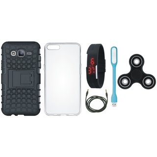 Redmi 5 Shockproof Kick Stand Defender Back Cover with Spinner, Silicon Back Cover, Digital Watch, USB LED Light and AUX Cable