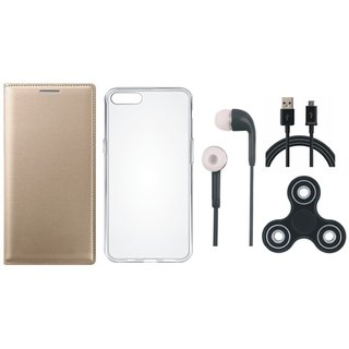 Redmi 5 Leather Flip Cover with Spinner, Silicon Back Cover, Earphones and USB Cable