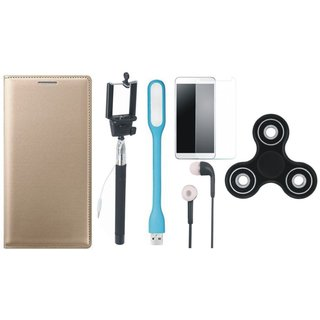 Redmi 5 Leather Flip Cover with Free Spinner, Selfie Stick, Tempered Glass, Earphones and LED Light