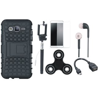 Redmi Note 5 Pro Defender Back Cover with Kick Stand with Free Spinner, Selfie Stick, Tempered Glass, Earphones and OTG Cable