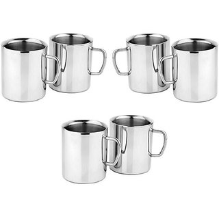 Jagani Stainless Steel Tea Coffee Mugs Set Of 6 Pcs 165 Ml