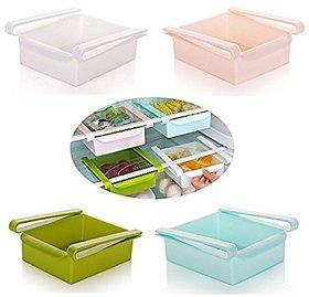 Multi Purpose Shelving Freezer Fridge Space Saver Storage Shelf Drawer Holder (Pack of 4)