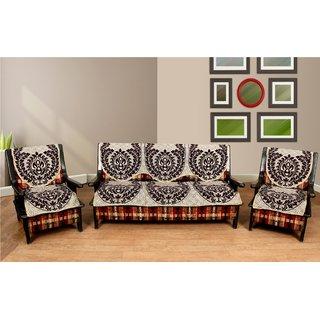 Manvi Creations cotton Brown 5 seater sofa cover
