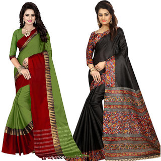Ethinista Fashion Mart Green and Black Colored Designer Party Wear Saree With Matching Blouse ( Pack Of 2)
