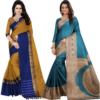 Ethinista Fashion Mart Mustard and Green Colored Designer Party Wear Saree With Matching Blouse ( Pack Of 2)