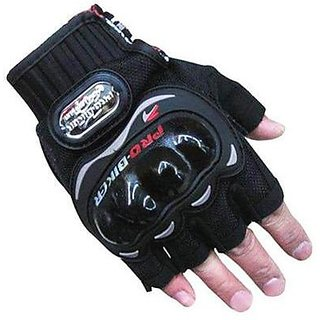 OMCY Imported Pro Bike Half Cut Racing Motorcycle Riding Gloves (XL, Black)