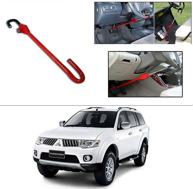 AutoStark 3r Red Car Steering Wheel Lock Pedal Saftey Interior Accessories  For Mitsubishi Pajero Sports
