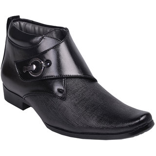 Aadi Men Black PU Faux Leather Slip on Smart Formals