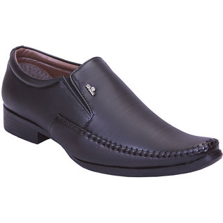 Aadi Black Slip On Artificial Leather Formal Shoes