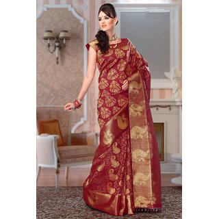 ad412ee752017f Buy Samyakk Maroon Colour Kanchipuram Silk Saree With Zari Work ...