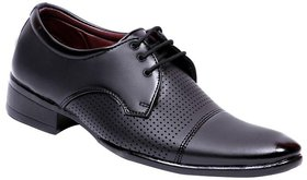 Aadi Black Lace-up Leather Smart Formals Shoes For Men