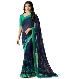 Indian Style Sarees Green Printed Georgette Saree With Blouse