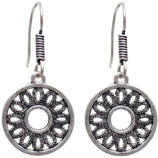 Lucky Jewellery Designer Black Metal Silver Oxidised Round Shape Earring