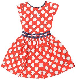 Saarah Red Cotton Frock for girls