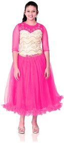 Saarah Pink Net Dresses for girls