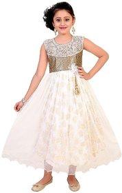 Saarah White and Golden Net Dress for girls