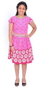 Saarah Pink Cotton Frock For Girls