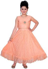 Saarah Orange A-line Dress for Girls