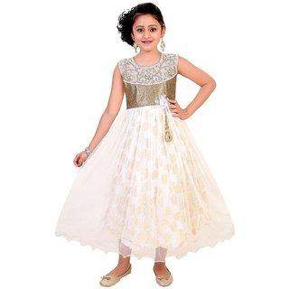 Saarah White and Golden Net Dress for girls