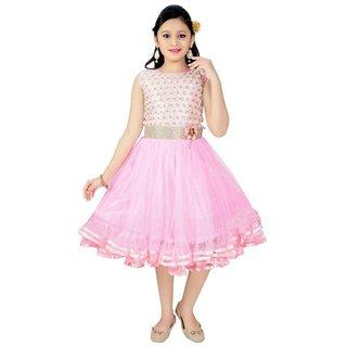 Saarah Pink Net Frock for girls