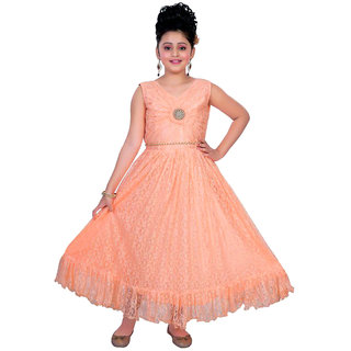 Saarah Orange A-line Dress for Girls