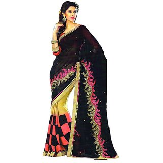 cf0257077558cd Amuktaa Black and Beige Embroidered Faux Georgette Saree In India -  Shopclues Online