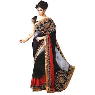 Amuktaa Black and Red Embroidered Semi Chiffon Saree