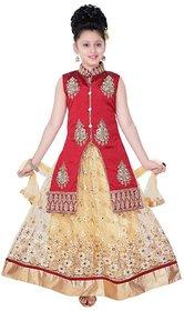 Saarah Multicolor Cotton Blend Lehenga Choli Set for girls